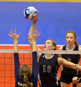BHBL's Jessica Dillon spikes the ball at the net during the Spartans first game against Walter Panas during state playoffs Saturday in Glens Falls. Ed Burke 11/17/12