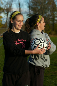 Madison Gowett (left) warmed up with her sister Mikayla both starters for the Mechanicville's girls soccer team. Photo Erica Miller 11/5/12 spt_Sisters5_Tues