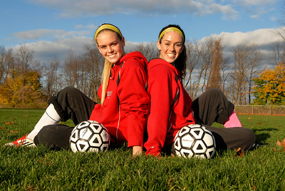 Sisters Mikayla Gowett, (right) Senior, and Madison, (left) freshman, both starters for the Mechanicville's girls soccer team. Photo Erica Miller 11/5/12 spt_Sisters1_Tues