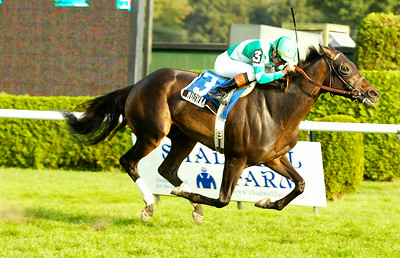 Kent Desormeaux, atop Mushka, finishes first on the Inner Turf Course for the 14th running of the Glens Falls Stakes race Monday afternoon at the Saratoga Race Course. Photo Erica Miller 9/7/09 spt_GlensFalls1_Tue