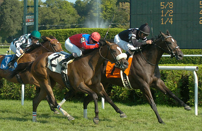 Crossfirehurricane and Robby Albarado heads for a close win in Thursday's 7th race. Ed Burke 9/3/09
