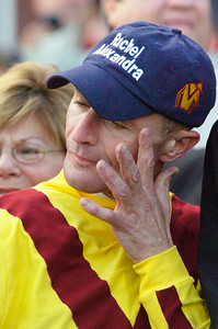 Jockey Calvin Borel wipes away tears of joy in the winners circle after winning the 56th Running of The Woodward Saturday afternoon at the Saratoga Race Course. Photo Erica Miller 9/5/09 spt_WoodWard4_Sun