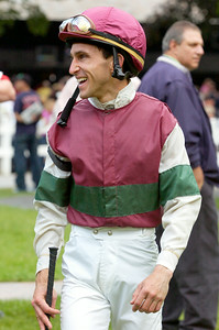 Leading Jockey Ramon Dominguez  in the paddock Monday afternoon at the Saratoga Race Course. Photo Erica Miller 9/7/09 spt_Ramon2_Tue