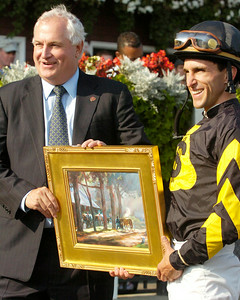 Leading Jockey Ramon Dominguez with Charles Hayward in the winners circle Monday afternoon at the Saratoga Race Course. Photo Erica Miller 9/7/09 spt_Ramon1_Tue