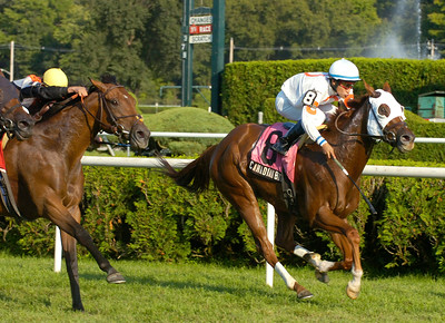 Canadian Ballet with jockey Alan Garcia aboard takes Wednesday's Lena Spencer overnight stakes at Saratoga Race Course. Ed Burke 9/2/09