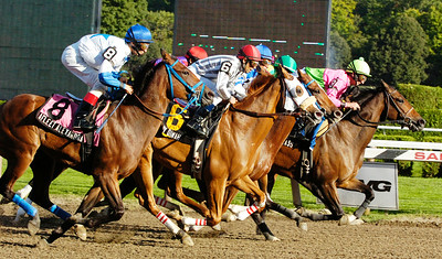 The horses start off for the 1 1/8 mile 6th Running of the Saratoga Dew Stakes Race at the Saratoga Race Course Monday afternoon. Photo Erica Miller 8/31/09 spt_Dew1_Tue
