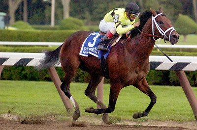 Johnny Velazquez atop Quality Road wins the 57th Running of the Woodward Grade 1 Stakes Race Saturday afternoon at the Saratoga Race Course. Photo Erica Miller 9/4/10 spt_Woodward2_Sun