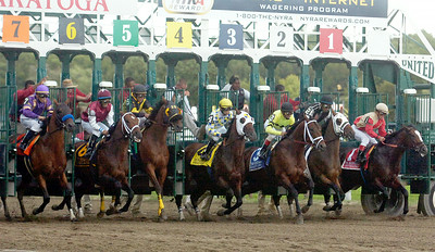 The start of the 1 1/8th mile 57th Running of the Woodward Grade 1 Stakes Race Saturday afternoon at the Saratoga Race Course. Photo Erica Miller 9/4/10 spt_Woodward1_Sun
