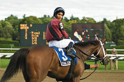 Jockey Alan Garcia and Leathal Combination after winning the Grade III Saranac sunday at the Saratoga Race Course. Photo Eric Jenks 9/5/10