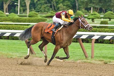 Jockey Garrett Gomez rides R Heat Lightning to victory in the 119th running of the Spinaway at the Saratoga Race course Sunday. Photo Eric Jenks 9/5/10