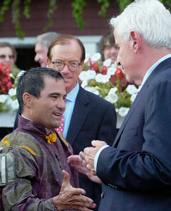 Corey Nakatani high-fives Trainer Nick Zito after winning the Forego Stakes, Grade 1, on Saturday at the Saratoga Race Course.Photo Erica Miller 9/3/11 spt_Forego3_Sun