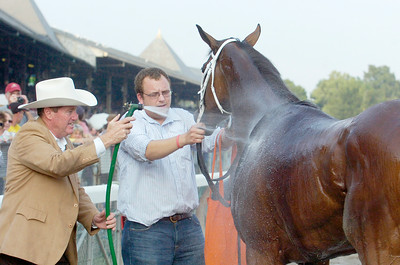Trainer Larry Jones rinses off Havre de Grace after he won the Woodward Stakes, Grade 1,  on Saturday at the Saratoga Race Course. Photo Erica Miller 9/3/11 spt_Woodward4_Sun