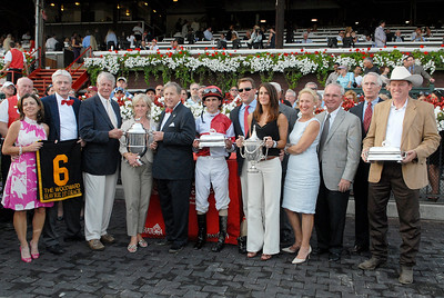 Winners circle after Ramon Dominguez riding Havre de Grace won the Woodward Stakes, Grade 1,  on Saturday at the Saratoga Race Course. Photo Erica Miller 9/3/11 spt_Woodward5_Sun
