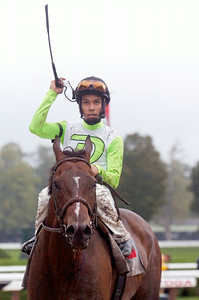 Jaime Rodriguez atop Goldzar after winning the Ecclesiastic Stakes on Monday at the Saratoga Race Course. Photo Erica Miller 9/5/11 spt_Ecclesiastic2_Tues