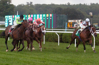 Goldzar, outside, ridden by Jaime Rodriguez won the Ecclesiastic Stakes on Monday at the Saratoga Race Course. Photo Erica Miller 9/5/11 spt_Ecclesiastic1_Tues