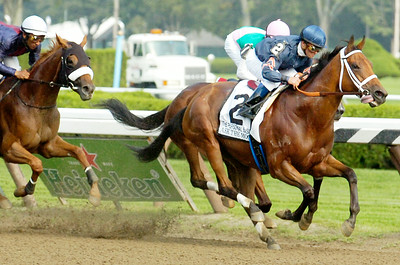 Javier Castellano wins The Personal Ensign Invitational Stakes Grade 1 with Ask the Moon on Saturday at the Saratoga Race Course. Photo Erica Miller 9/3/11 spt_PerEnsign1_Sun