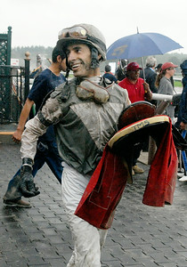 Lead jockey Johnny Velazquez after winning the 7th Race riding Ambassador Bridge on Monday at the Saratoga Race Course. Photo Erica Miller 9/5/11 spt_LeadJockey_tues