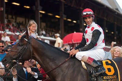 John Velazquez and To Honor and Serve won the Woodward Grade 1 Saturday evening at the Saratoga Race Course. Photo Eric Jenks 9/1/12