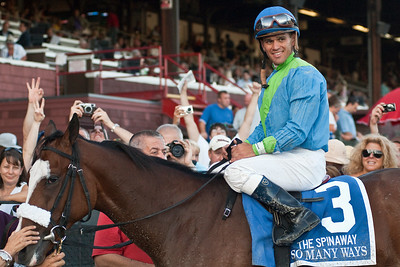 Javier Castellano and So Many Ways in the Winner's Circle after a victory in the 121st running of the Spinaway Grade I Sunday evening at the Saratoga Racecourse. Photo Eric Jenks 9/2/12