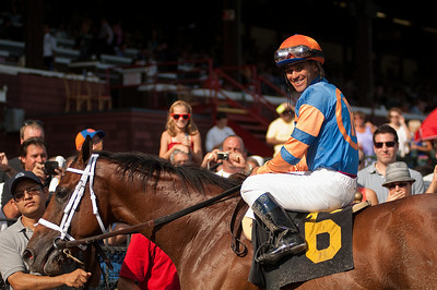 Javier Castellano on Micromanage after winning the Joseph M. Cornacchia Memorial (7th Race) at Saratoga Race course Saturday. Photo Eric Jenks 9/1/12