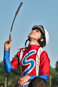 Ramon Dominguez after winning the eigth race of the day at Saratoga Racecourse Sunday afternoon. Photo Eric Jenks 9/2/12