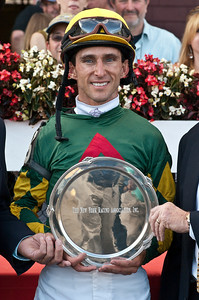 Ramon Dominguez in the winner's circle Sunday afternoon in the 105th running of the Saranac at the Saratoga Racecourse.  The victory was Dominguez's sixth of the day, and number sixty-six of the season. Photo Eric Jenks 9/2/12