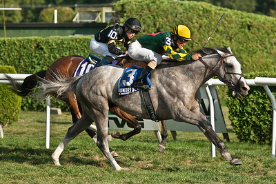 Unbridled Command and Ramon Dominguez took the win from Joel Rasario and Skyring Sunday afternoon in the 105th running of the Saranac at the Saratoga Racecourse. Photo Eric Jenks 9/2/12