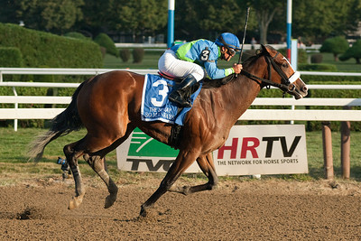 Javier Castellano rode So Many Ways to victory in the 121st running of the Spinaway Grade I Sunday evening at the Saratoga Racecourse. Photo Eric Jenks 9/2/12