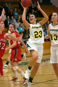 Skidmore's Christina Gargiso tries for two during Tuesday's basketball matchup against St. Lawrence. Ed Burke 1/24/12