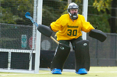 Saratoga Springs High School graduate and now Skidmore student Haley McDoughall defends her goal during a field hockey game against Rochester on Saturday afternoon. Photo Erica MIller 9/24/11 spt_McDoughall1_up