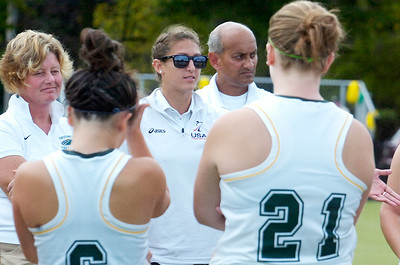 Saratoga Springs High School alumni Elise Britt, now assistant coach for Skidmore field hockey talks to the players at halftime during their game against Rochester. Photo Erica Miller 9/24/11 spt_EliseBritt3_up