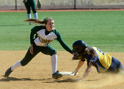 Skidmore's Abby Shea gets the out on Cazenovia's Jenna Kraeger at second during the third inning of the first game of Saturday's doubleheader at Wagner Park. Ed Burke 3/30/13