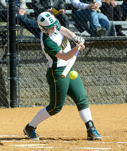 Skidmore's Mackenzie Whiting connects for a double during the first game of Saturday's doubleheader versus Cazenovia at Wagner Park. Ed Burke 3/30/13
