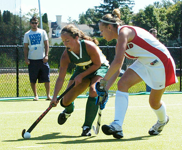 Katie Potter, Skidmore, fights for the ball against Brianna Yetsko, Cortland, during their field hockey game Sunday afternoon. Photo Erica Miller 9/6/09 spt_SkidCort2_Mon