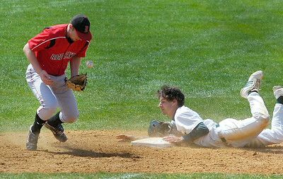 Skidmore's Jake Mendell is safe at second as RPI's Mike Cieszko tries to handle a short throw during the first game of Saturday's doubleheader at Castle Diamond. Ed Burke 5/2/09