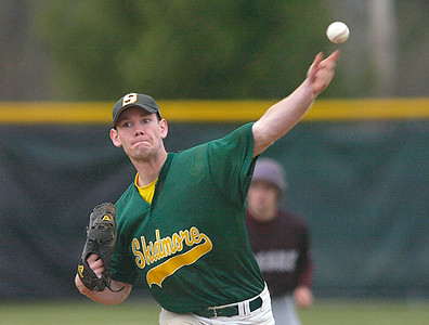 Skidmore College pitcher Ed Reilly delivers a throw against Vassar during Saturday's doubleheader at Castle diamond. Ed Burke 4/18/09