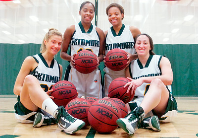 Seniors for the Skidmore Girls Basketball (L-R) Dana Leonard, Sharlyn Harper, Amber Kinsey, and Kelly Bischoff. Photo Erica Miller 2/17/10 spt_SkidFour2_up