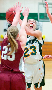 Christina Gargiso, Skidmore, takes a shot at the basket against Olivia Westbrook-Gold, Vassar, during their basketball game Saturday afternoon. Photo Erica Miller 2/13/10 spt_SkidVas5_Sun