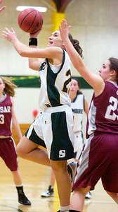 Christina Gargiso, Skidmore, takes a shot at the basket during their basketball game against Vassar College Saturday afternoon. Photo Erica Miller 2/13/10 spt_SkidVas4_Sun