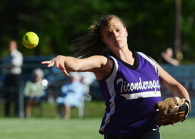 Ticonderoga's Maura Jebb throws the ball to first base during their softball regional game against Greenwich. Photo Erica Miller 6/3/13 spt_Softball7_Tues