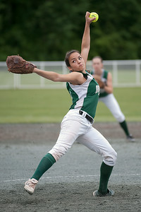 Greenwich's Pitcher Sarah Heimbach throws the ball Saturday morning during the Section III State Semifinal softball game against Sandy Creek. Photo Eric Jenks 6/8/13