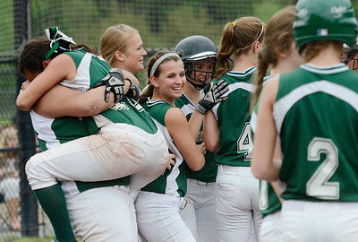 Greenwich players celebrate after Wednesday's win over Albany Academy in Moreau. Ed Burke 5/29/13