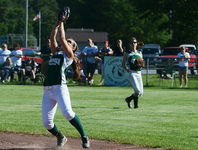 Greenwich's Alexis Case caught a pop-up during their softball regional game against Ticonderoga. Photo Erica Miller 6/3/13 spt_Softball5_Tues