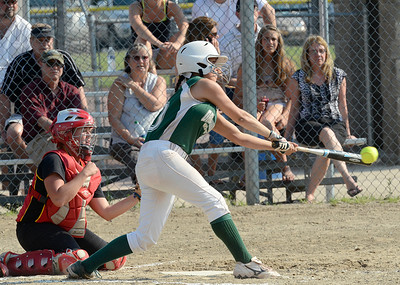 Mechanicville catcher Kylie Liberty looks on as Greenwich pitcher Sarah Heimbach connects with a first inning pitch that resulted in two runs scoring during Friday's Section II Class C final at Clifton Commons. Ed Burke 5/31/13
