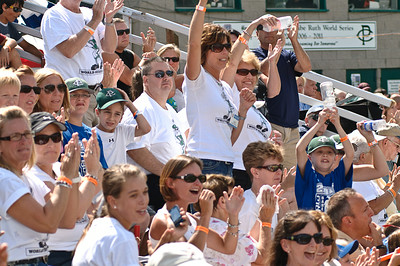 An enthusiastic crowd cheers as Clifton Park scores a run in their 2011 Babe Ruth World Series game against Guilderland Friday Morning. Photo By Eric Jenks 8/27/11
