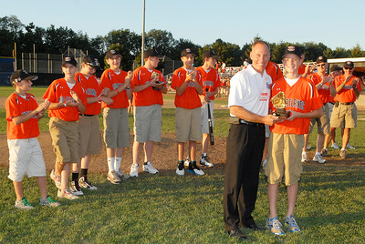 Mid Atlantic accepts their trophies during the Babe Ruth Championship game field Friday evening.Photo Erica Miller 8/26/11 CPvsTRI2