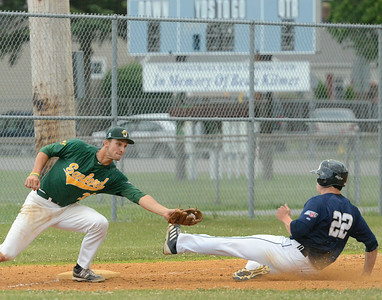 Saratoga Brigade's Zach Zott is safe at third beating the throw to Sanford's Phil Mosey during Saturday's game at East Side Rec. Ed Burke 6/29/13