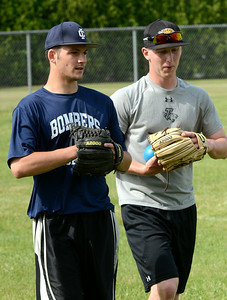 Former Shen player John Prendergast, left, and former Averill Park player Nick Cioffe at Wedneday's Saratoga Brigade practice at Vetrans Memorial Park. Ed Burke 6/5/13