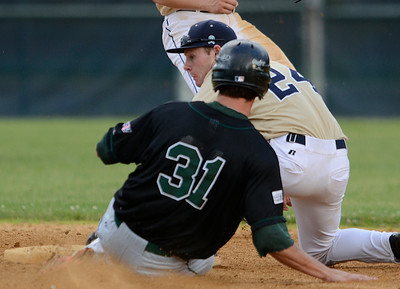 Saratoga Brigade's Dylan Delaney gets the out on Vermont's Mike Triller during Friday's game at East Side Rec. Ed Burke 6/14/13