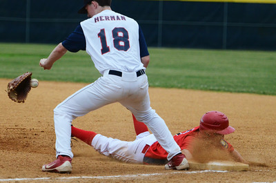 Saratoga Stampede's Jack Herman looses glove as Granville's Danny Mullens slides safely into first base during their game at East Side Rec. Photo Erica Miller 6/27/13 spt_Stampede4_Fri
